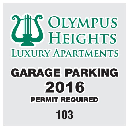 "Item #704 3"" x 3"" square-cut parking permits"