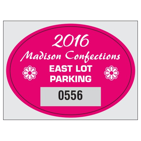 "Item #8201 2.75"" x 2"" square-cut parking permits"