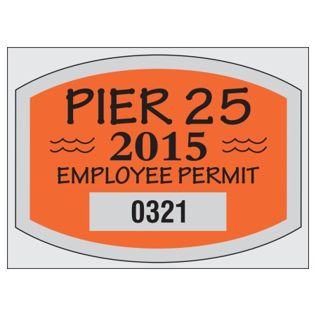 No. 8202 die-cut parking permit