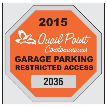"Item #8207 2.75"" x 2.75"" square-cut parking permits"