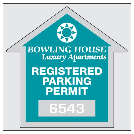 "Item #8209 2.75"" x 2.75"" square-cut parking permits"