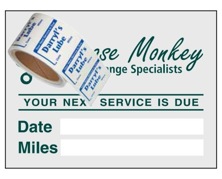 "Item #1203 2"" x 1½"" on a roll service reminders"