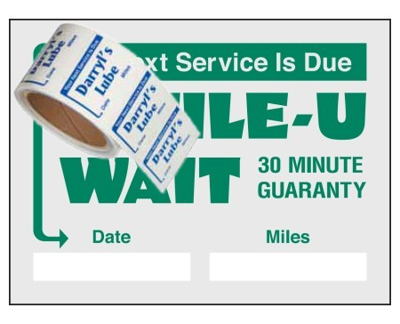 "Item #1204 2"" x 1½"" on a roll service reminders"