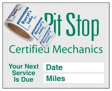 "Item #1205 2½"" x 2"" supplied on a roll service reminders"